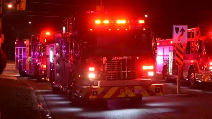 Fire trucks attend a scene