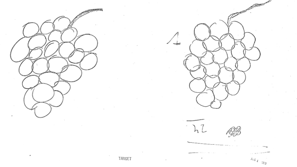 A target drawing (left) and a recreation by Uri Geller is shown in this image from a CIA-associated experiment in August of 1973. (Central Intelligence Agency)
