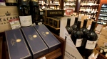 Wine and sparkling wine are shown on display at a B.C. liquor store in Vancouver. (THE CANADIAN PRESS/Jonathan Hayward)