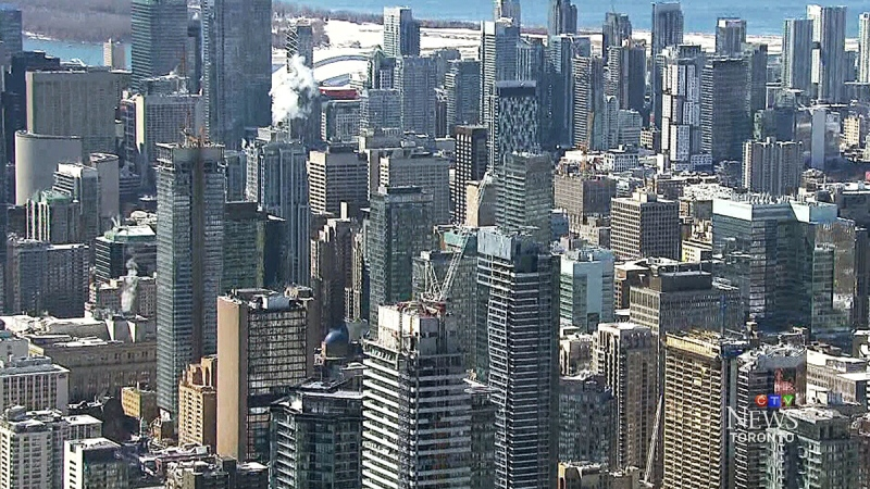 Downtown Toronto seen in this image from the CTV News Chopper.