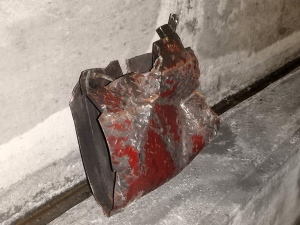 The STM calls this a cover lock for part of the metro tracks. It was smashed Jan. 14, 2017 by an Azur train.