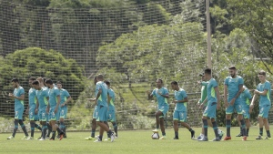 The new Chapecoense soccer team players attend a training session in Chapeco, Brazil on Wednesday, Jan. 18, 2017. (AP / Andre Penner)