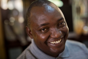 In this Saturday Dec. 3, 2016 file photo, Gambian President elect Adama Barrow sits for an interview with the Associated Press at his residence in Yundum, Gambia. (AP Photo/Jerome Delay, File)