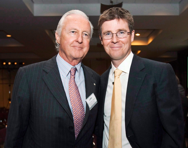 Loblaw Companies Limited Executive Chairman Galen Weston Jr., right, poses with and his father Galen Weston Sr., at the company's annual general meeting in Toronto on Wednesday, May 5, 2010. (THE CANADIAN PRESS/Nathan Denette)