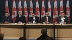 Indigenous leaders call for a national strategy on suicide prevention at a news conference in Ottawa Thursday, Jan. 19, 2017.