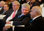 Former Canadian prime minister Stephen Harper, second right, speaks with Indian Junior Foreign Minister M.J. Akbar, right, as former Australian prime minister Kevin Rudd, third right, watches the inauguration of the second edition of the Raisina Dialogue in New Delhi, India, Tuesday, Jan. 17, 2017. (AP / Manish Swarup)