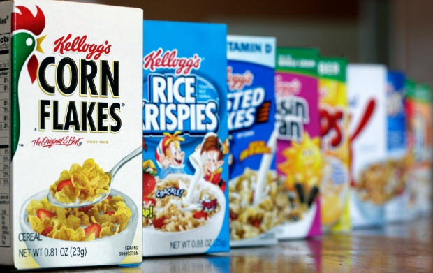 This Feb. 1, 2012, file photo shows Kellogg's cereal products in Orlando, Fla.  (AP / John Raoux)