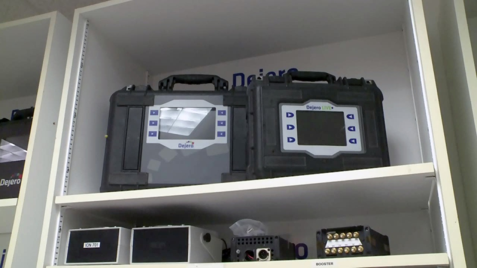 Dejero units are seen inside the company's Waterloo headquarters.