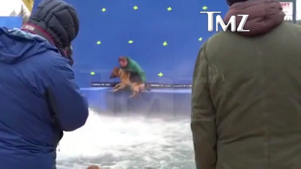 A dog appears to be forced into turbulent water during the filming of 'A Dog's Purpose' near Winnipeg in this 2015 handout photo taken from video footage provided to TMZ. A Toronto-based animal law organization has filed animal cruelty complaints over the treatment of a German shepherd on the set of the film 'A Dog's Purpose.' (THE CANADIAN PRESS/HO - TMZ)