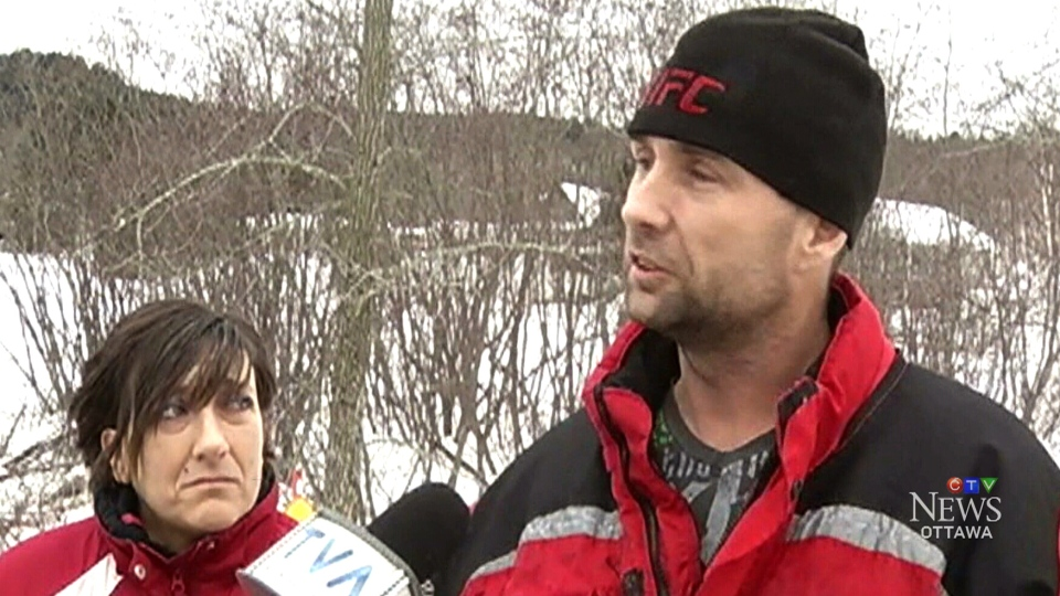 Kevin Wiseman rescued his wife from a frozen lake after their trail groomer crashed through the ice.