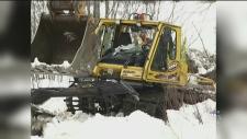 snowmobile trail grooming vehicle