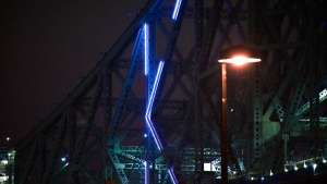 Testing of the new lighting system on the Jacques Cartier Bridge began on Jan. 19, 2017 (CTV Montreal/Cosmo Santamaria)