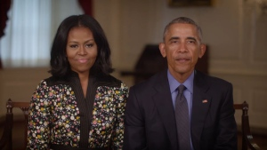 Michelle and Barack Obama deliver a message to the public in a YouTube video published on Jan. 20 (Obama Foundation / YouTube)