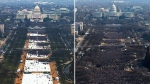 This pair of photos shows a view of the crowd on the National Mall at the inaugurations of U.S. President Donald Trump  (left), on Jan. 20, 2017 and U.S. President Barack Obama (on right) on Jan. 20, 2009. Both photos were shot shortly before noon from the top of the Washington Monument. (AP Photo)