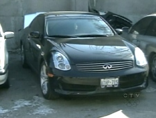 The driver of this Infinity G35 was pulled over on Highway 400, north of Toronto, after allegedly being clocked at about 250 km/h.