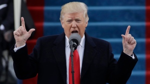President Donald Trump delivers his inaugural address after being sworn in as the 45th president of the United States during the 58th Presidential Inauguration at the U.S. Capitol in Washington, Friday, Jan. 20, 2017. (AP Photo / Patrick Semansky)