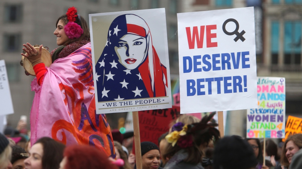 Thousands of people gather as they prepare to march in protest of U.S. President Donald Trump Saturday Jan. 21, 2017 in Philadelphia. (AP / Jacqueline Larma)