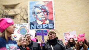 Participants attend the Women's March on Washington on Independence Ave. on Saturday, Jan. 21, 2017 in Washington. Thousands are massing on the National Mall for the Women's March, and they're gathering, too, in spots around the world. (AP Photo/Sait Serkan Gurbuz)