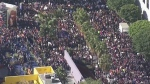 Aerials of women's march in U.S., Canada