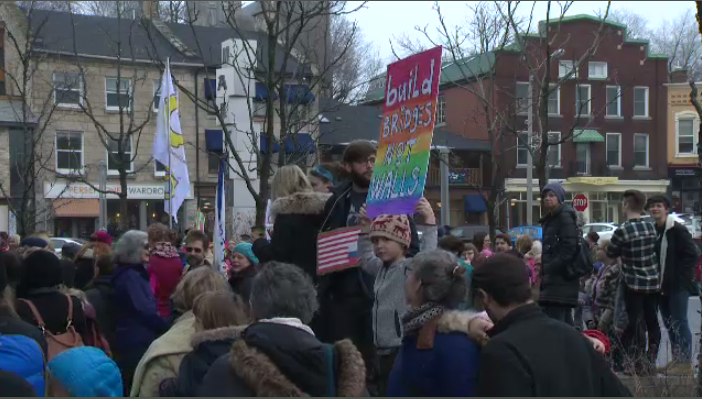 Rally in Guelph in support of Women's March in Washington. (Jan. 21, 2017)