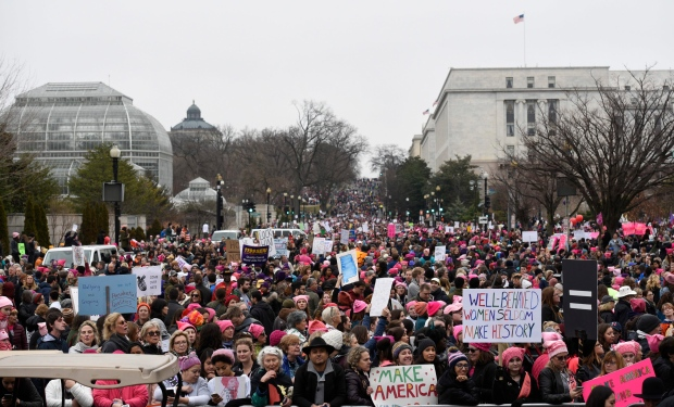 A crowd fills Independence Avenue during the Women's March on Washington, Saturday, Jan. 21, 2017 in Washington. Thousands of women massed in the nation's capital and cities around the globe Saturday to send Donald Trump an emphatic message that they won't let his agenda go unchallenged over the next four years. (AP/Alex Brandon)