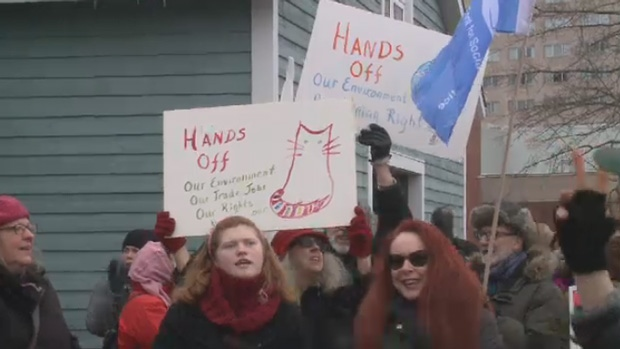 Protesters across the Maritimes took the streets on Saturday in a show of women power.