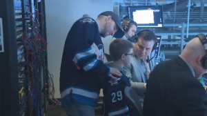Benjamyn 'Benny' Francey got a tour of the MTS Centre ahead of the Winnipeg Jets game on Saturday.