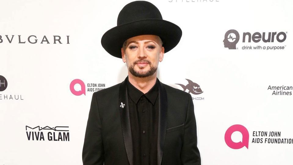 Boy George arrives at the 2016 Elton John AIDS Foundation Oscar Viewing Party at West Hollywood Park on Sunday, Feb. 28, 2016, in West Hollywood, Calif. (Photo by Rich Fury/Invision/AP)