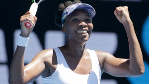 United States' Venus Williams celebrates after defeating Germany's Mona Barthel in their fourth round match at the Australian Open tennis championships in Melbourne, Australia, Sunday, Jan. 22, 2017. (AP Photo / Aaron Favila)