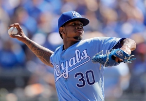 In this file photo, Kansas City Royals starting pitcher Yordano Ventura throws during the first inning of a baseball game against the Chicago White Sox Monday, Sept. 19, 2016, in Kansas City, Mo. (AP / Charlie Riedel)