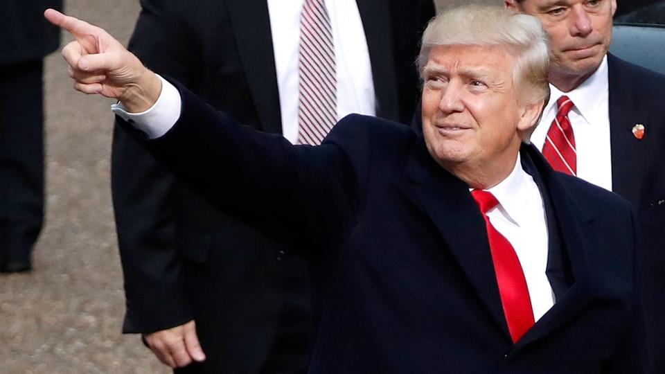 U.S. President Donald Trump during the 58th Presidential Inauguration parade in Washington, on Jan. 20, 2017 (Pablo Martinez Monsivais / AP)