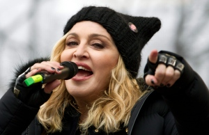 Madonna performs on stage during the Women's March rally, Saturday, Jan. 21, 2017, in Washington. (AP Photo/Jose Luis Magana)
