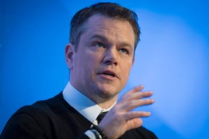 Matt Damon, Co-Founder of Water.org, speaks during a penal session on the first day of the 47th annual meeting of the World Economic Forum, WEF, in Davos, Switzerland, Tuesday, Jan. 17, 2017. (Gian Ehrenzeller/Keystone via AP)