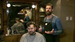 Jeff Campeau cuts hair at Victory Barber and Brand in Vancouver, B.C.