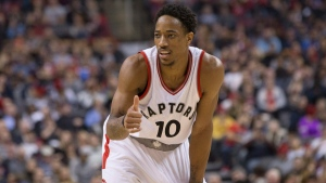 Toronto Raptors' DeMar DeRozan is pictured during first half NBA basketball action against the Phoenix Suns in Toronto on Sunday, January 22, 2017. (Chris Young/The Canadian Press)
