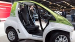 A Toyota EV electric car is seen during media day at the Montreal International Auto Show Thursday, January 19, 2017 in Montreal. (Paul Chiasson/The Canadian Press)