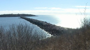 One of the locations is a breakwater that connects to Partridge Island.