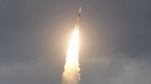 Japan's H-2A rocket carrying Defense Ministry's first communications satellite Kirameki-2 goes up goes up after its launch from the Tanegashima Space Center in Minamitane on Tanegashima Island, southern Japan, Tuesday, Jan. 24, 2017. (Yu Nakajima/Kyodo News via AP)