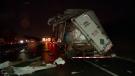 The Highway 20 crash caused one minor injury (photo: CTV Montreal / Cosmo Santamaria)