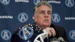 Toronto Argonauts general manager and former head coach Jim Barker attends a press conference to announce Scott Milanovich's appointment as head coach , in Toronto on Thursday December 1, 2011. (Chris Young/The Canadian Press)