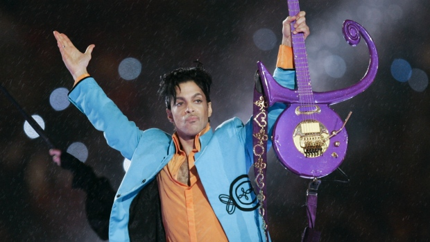 Prince performs during Super Bowl