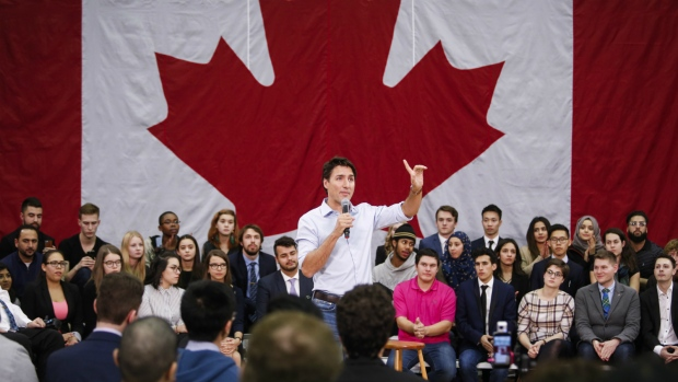 Prime Minister Justin Trudeau takes questions at a town hall meeting in Calgary, Alta. on Tuesday, Jan. 24, 2017. (Jeff McIntosh / THE CANADIAN PRESS)