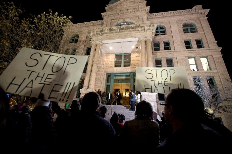 In this Dec. 22, 2016 file photo, people protest against the Fort Worth Police Department at the Tarrant County Courthouse in Fort Worth, Texas. (Joyce Marshall / Star-Telegram)
