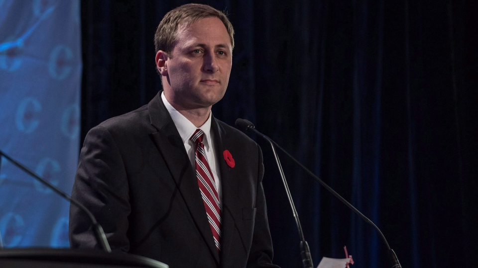 Brad Trost, then campaigning for the Conservative Party leadership, speaks during the Conservative leadership debate in Saskatoon on Wednesday, Nov.9, 2016. THE CANADIAN PRESS/Liam Richards