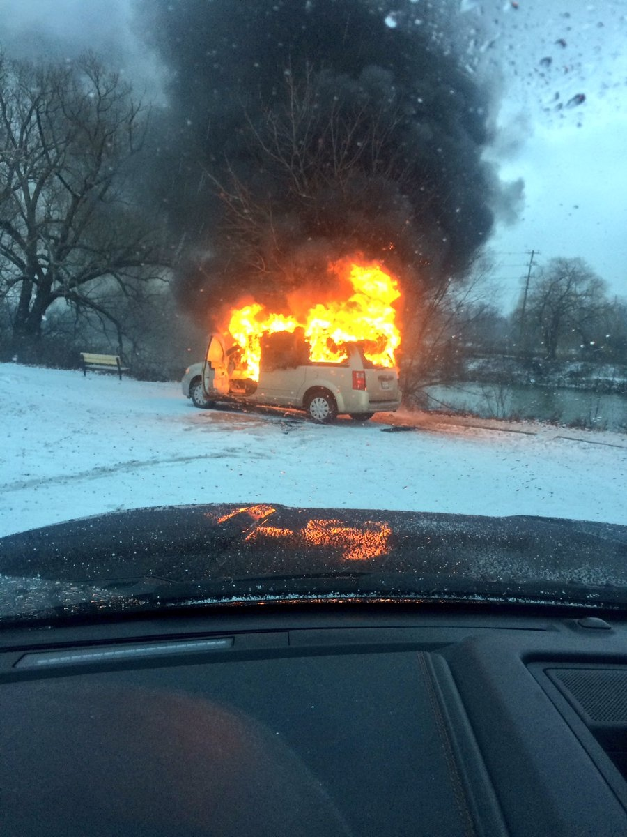 A van fire at a parking lot on Wonderland Road and Riverside Drive has London's major crimes unit investigating in London, Ont., on Friday, Jan. 27, 2017. (Courtesy Shannon Keith Best)