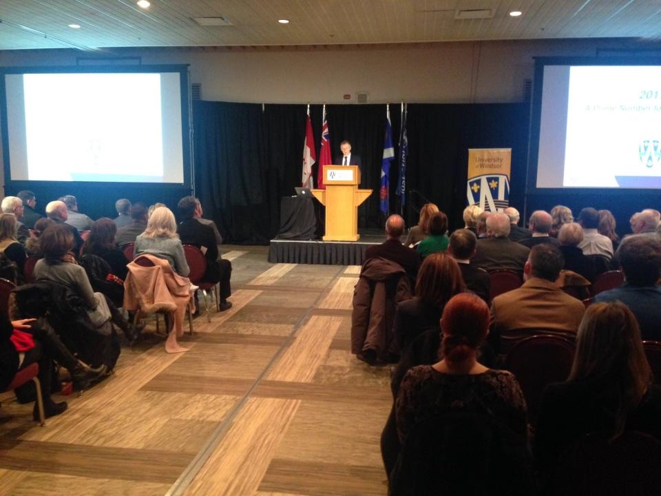 University of Windsor president Alan Wildeman speaks at his annual address in Windsor, Ont., on Friday, Jan. 27, 2017. (Rich Garton / CTV Windsor)