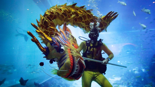 A diver performs a dragon dance underwater at the South East Asia Aquarium in Resorts World Sentosa, a popular tourist destination as part of Chinese New Year celebrations in Singapore, on Wednesday, Jan. 25, 2017. The tradition of dragon dance performances, usually on land, is believed to bring blessings to guests for an auspicious Lunar New Year. (AP Photo/Wong Maye-E)