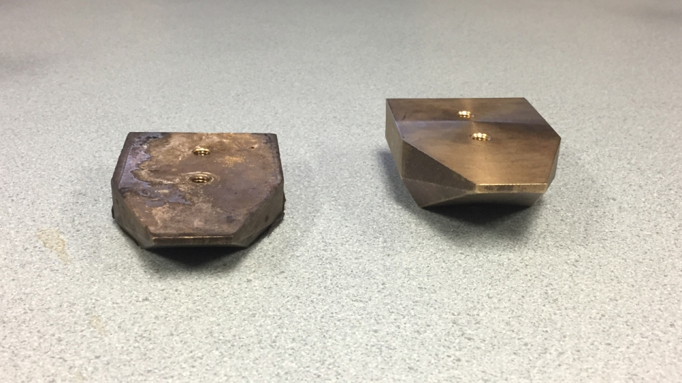 A used runner from an MR-73 train on the left, compared to a new electrical contact boot on the right (CTV Montreal/Peter Schiavi)