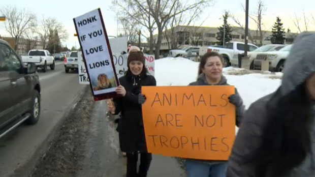 Trophy hunting protest - Calgary trade show