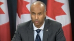 In this file photo, Canada's Minister of Immigration, Refugees and Citizenship, Ahmed Hussen speaks to the media in Ottawa on Sunday, Jan. 29, 2017.